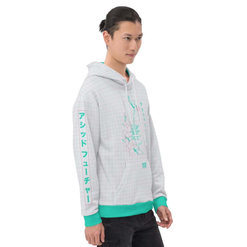 Sweat à capuche homme femme blanc à carreaux rose et symboles vert pastel tendance vaporwave rétro katakana japonais
