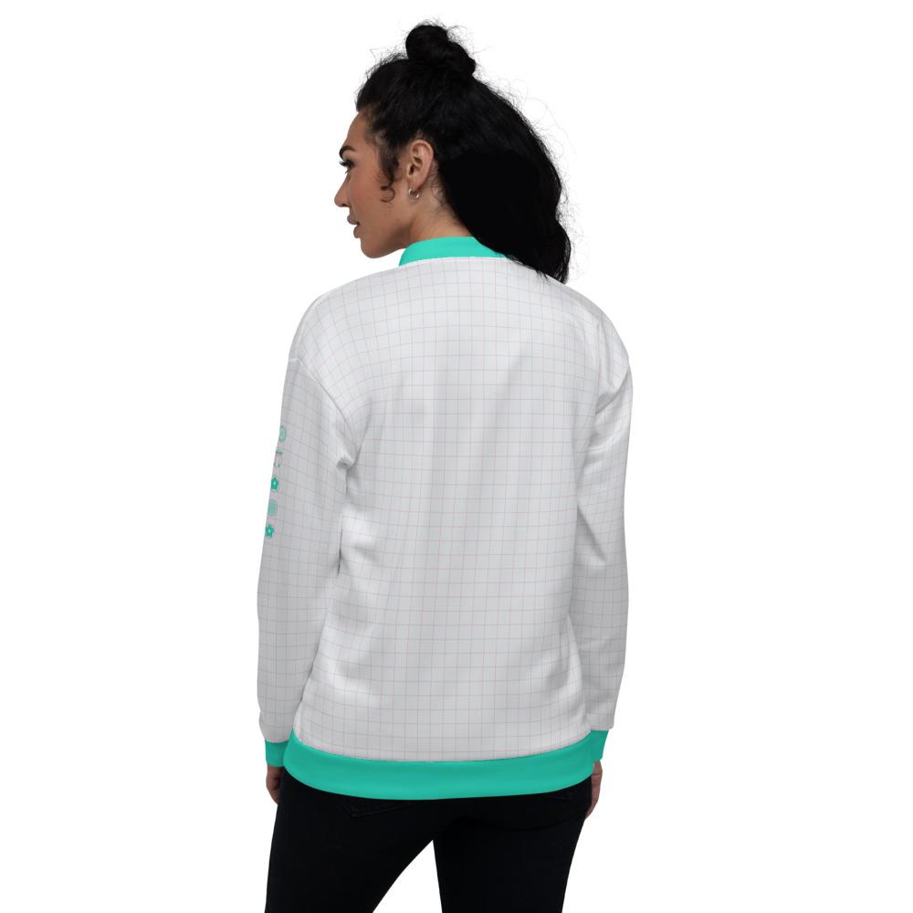 veste bomber blanche Estampe carreaux pastel katakana japonais back
